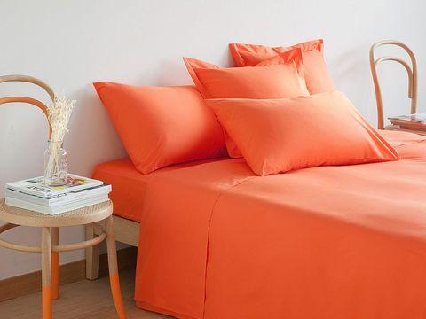 Room, Orange, Textile, Red, Interior design, Furniture, Pillow, Cushion, Wall, Amber,