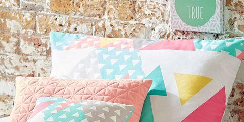 Blue, Textile, Pattern, Cushion, Orange, Pink, Pillow, Throw pillow, Aqua, Teal,