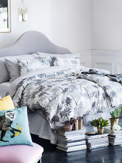 Blue, Room, Interior design, Property, Textile, Bedding, Wall, Linens, Bed sheet, Home,