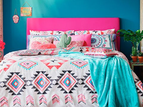 Blue, Green, Room, Bedding, Bed, Interior design, Bedroom, Textile, Flowerpot, Bed sheet,