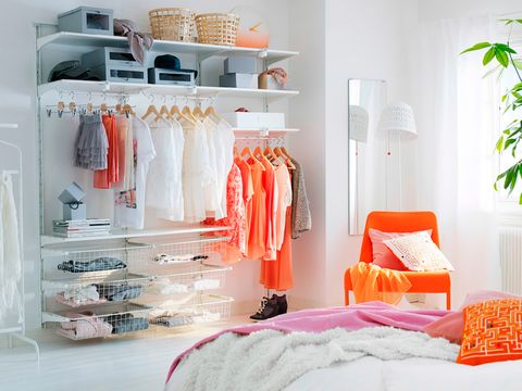 Room, Textile, Interior design, Bed, Orange, Clothes hanger, Linens, Bed sheet, Shelving, Bedroom,