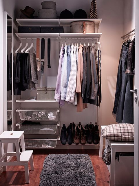Room, Clothes hanger, Furniture, Shelving, Closet, Fashion, Grey, Shelf, Wardrobe, Home accessories,
