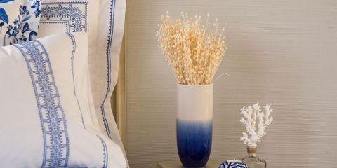 Blue, Linens, Throw pillow, Pillow, Cobalt blue, Cushion, Porcelain, Still life photography, Natural material, Home accessories,