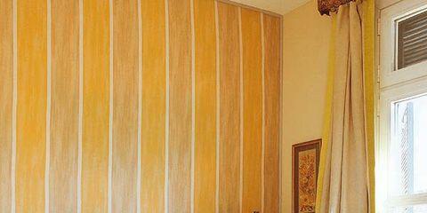 Room, Interior design, Lighting, Yellow, Bed, Property, Textile, Bedding, Bedroom, Wall,