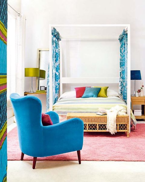 Blue, Room, Green, Yellow, Interior design, Textile, Furniture, Bed, Teal, Linens,