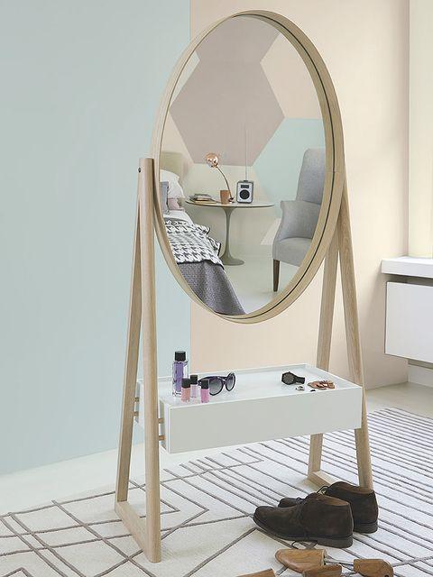 Room, Floor, Flooring, Mirror, Plywood, Ladder, Silver, Wood flooring, Makeup mirror,