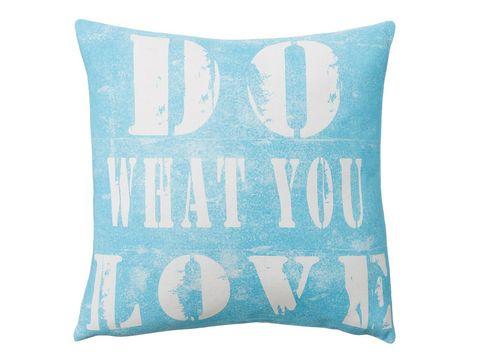 Blue, Pillow, Cushion, Textile, Throw pillow, Aqua, Turquoise, Linens, Teal, Font,