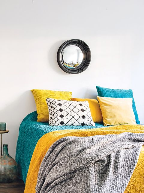 Bedroom, Yellow, Furniture, Room, Green, Blue, Turquoise, Bedding, Bed sheet, Bed,
