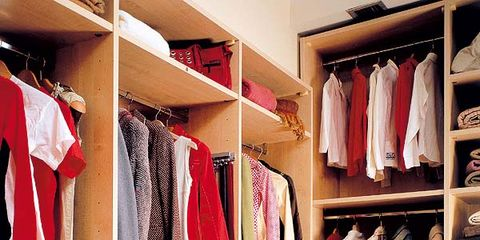 Room, Textile, Furniture, Shelving, Clothes hanger, Floor, Shelf, Closet, Carmine, Fashion,