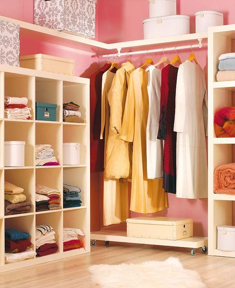 Room, Shelving, Clothes hanger, Shelf, Closet, Beige, Wardrobe, Collection, Peach, Plywood,