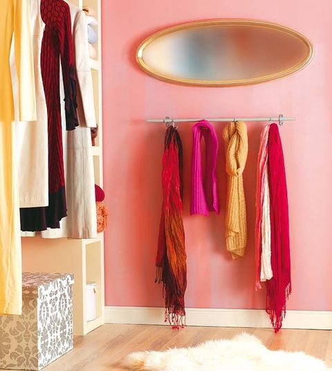 Room, Textile, Floor, Flooring, Interior design, Fashion, Magenta, Interior design, Clothes hanger, Fashion design,