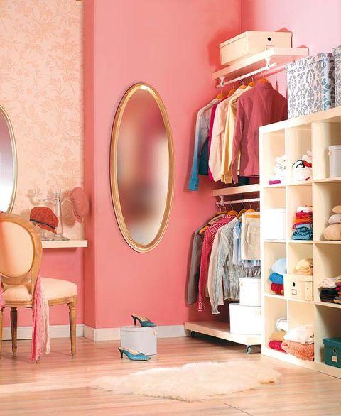 Room, Shelving, Interior design, Shelf, Interior design, Mirror, Peach, Dishware, Plate, Picture frame,