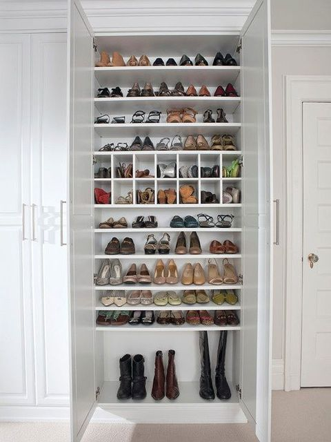 Shelf, White, Room, Closet, Furniture, Shelving, Cabinetry, Home accessories, Footwear, Shoe,