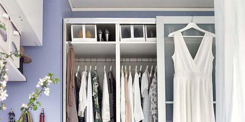 Room, Floor, Clothes hanger, Shelving, Shelf, Closet, Grey, Cabinetry, Wardrobe, Drawer,