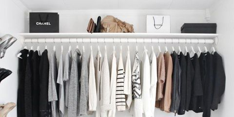 Closet, Room, Clothes hanger, Shelf, Furniture, Wardrobe, Black-and-white, Interior design,
