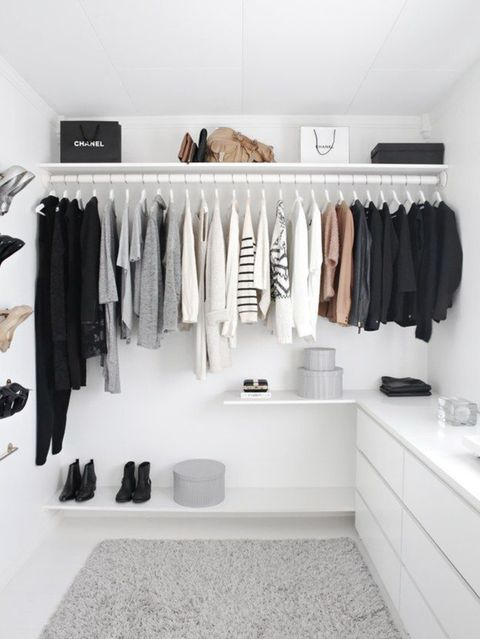 Room, Closet, Clothes hanger, Shelf, Furniture, Interior design, Black-and-white, Shelving, Building,