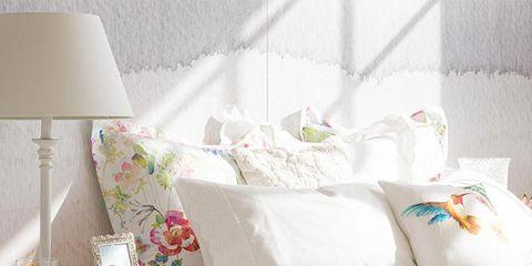Room, Interior design, Textile, Wall, Furniture, Linens, Bedding, Cushion, Interior design, Bed,