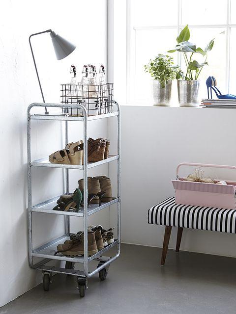 Room, Shelving, Shelf, Wall, Flowerpot, Grey, Houseplant, Iron, Herb, Plywood,