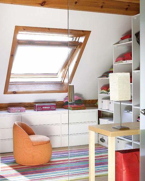 Room, Interior design, Wall, Ceiling, Shelving, Plywood, Shelf, Stool, Daylighting,