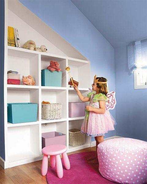 Room, Pink, Interior design, Shelf, Shelving, Interior design, Teal, Peach, Linens, Lamp,