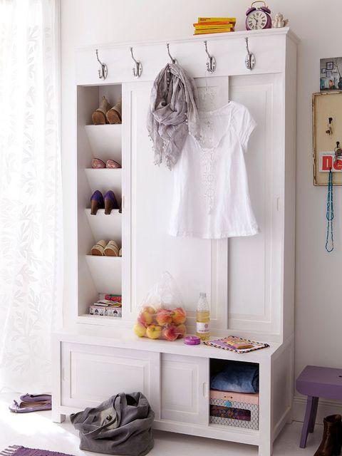 Room, White, Purple, Clothes hanger, Grey, Stool, Lavender, Shelving, Fashion design, One-piece garment,
