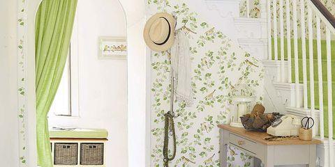 Room, Floor, Interior design, Flooring, Flowerpot, Wall, Interior design, Window treatment, Basket, Beige,