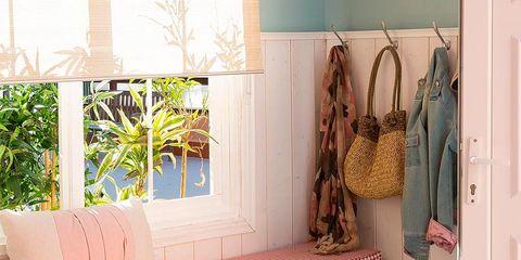 Room, Furniture, Interior design, Floor, Shelf, Property, Curtain, Home, Table, Window treatment,