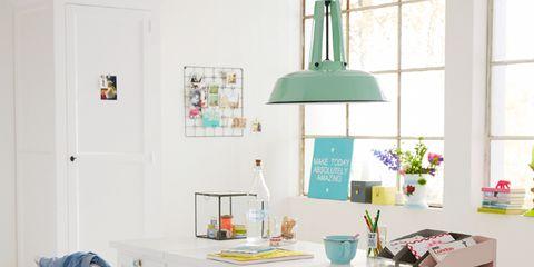 Room, Interior design, Turquoise, Teal, Light fixture, Interior design, Grey, Cabinetry, Aqua, Home,