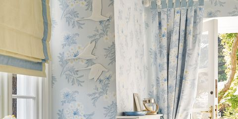 Blue, Room, Interior design, Textile, Wall, Home, Bed, Bedding, Linens, Window treatment,