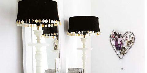 Room, Interior design, White, Furniture, Purple, Wall, Lampshade, Interior design, Lamp, Linens,