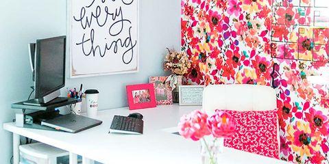 Pink, Wall, Room, Interior design, Wallpaper, Furniture, Design, Table, Pattern, Interior design,