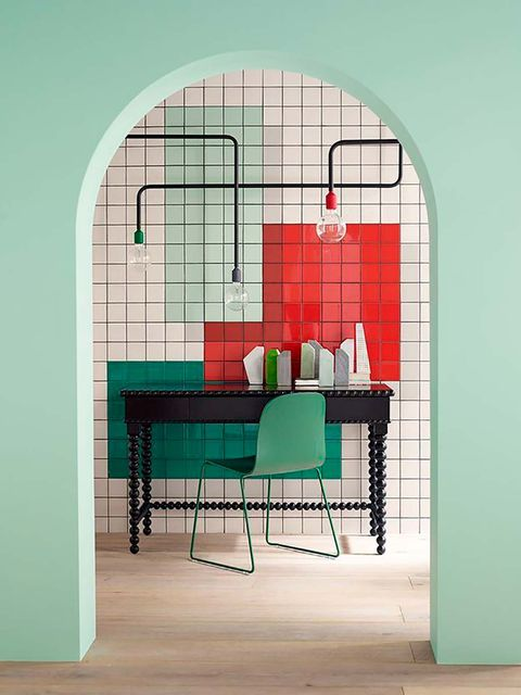 Green, Furniture, Cage, Room, Interior design, Turquoise, Architecture, Table, Rectangle, Arch,