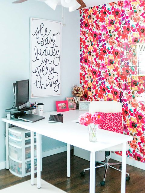 Pink, Furniture, Wallpaper, Room, Interior design, Desk, Table, Wall, Design, Pattern,