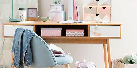 Furniture, Desk, Room, Shelf, Product, Table, Pink, Turquoise, Interior design, Computer desk,