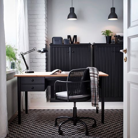 Furniture, Black, Room, Interior design, Product, Desk, Table, Floor, Chair, Wall,
