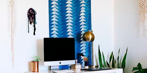 Blue, Room, Flowerpot, Plant, Interior design, Floor, Flooring, Interior design, Table, Display device,