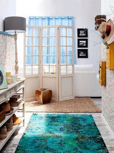 Blue, Floor, Room, Interior design, Flooring, Teal, Turquoise, Wall, Aqua, Interior design,
