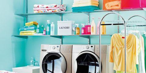 Laundry room, Room, Clothes dryer, Laundry, Turquoise, Furniture, Interior design, Major appliance, Shelf, Washing machine,