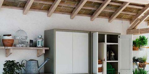 Wood, Interior design, Room, Floor, Ceiling, Fixture, Shelving, Flowerpot, Beam, Plywood,
