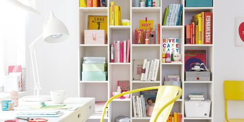 Room, Yellow, Interior design, Furniture, Shelving, Shelf, Bookcase, Publication, Material property, Home,