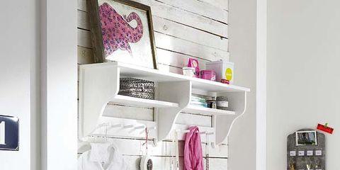Room, Pink, Wall, Shelving, Magenta, Violet, Interior design, Shelf, Home accessories, Household supply,