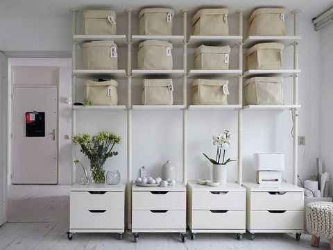 Room, Wall, Floor, White, Shelving, Furniture, Door, Shelf, Flooring, Fixture,