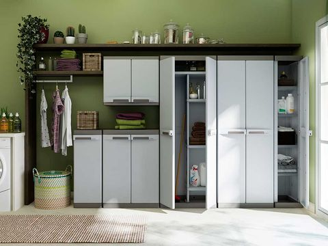 Floor, Room, Major appliance, Flooring, Kitchen appliance, Cupboard, Fixture, Grey, Kitchen, Door,