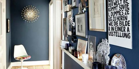 Room, Blue, Wall, Interior design, Furniture, Property, Ceiling, Shelf, Yellow, Black-and-white,