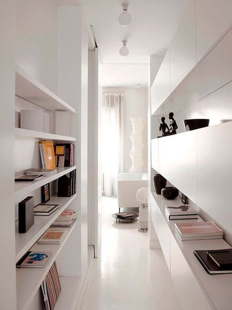 White, Interior design, Room, Property, Furniture, Countertop, Shelf, Ceiling, Kitchen, Building,