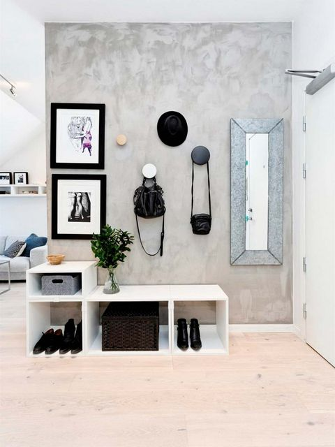 White, Room, Interior design, Wall, Furniture, Floor, Ceiling, Living room, Shelf, House,