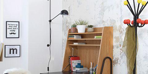 Room, Floor, Table, Furniture, Interior design, Desk, Shelving, Writing desk, Interior design, Still life photography,