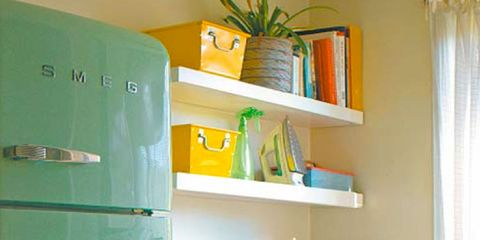 Green, Room, Major appliance, Interior design, Wall, Shelf, Shelving, Home appliance, Cabinetry, Teal,