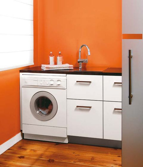 Washing machine, Wood, Floor, Room, Clothes dryer, White, Laundry room, Flooring, Orange, Wall,