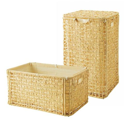 Rectangle, Beige, Wicker, Natural material, Home accessories, Storage basket,